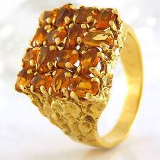 Ovale Echte Edelstein-Ringe aus Gelbgold mit Citrin für Damen