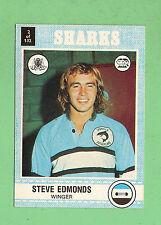 1977  CRONULLA  SHARKS  SCANLENS RUGBY LEAGUE  CARD   #2 STEVE EDMONDS