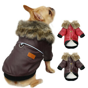 Leather Dog Jacket Fleece Lined Fur Hooded Small Dogs Winter Coat Warm Clothes