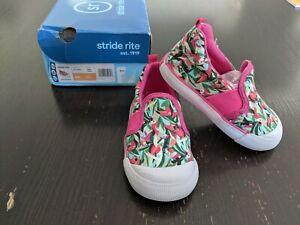 NIB Stride Rite SR Walker Pink Multi Bird Print Slip On Girl's Shoe Size 6
