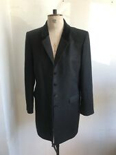 SIZE 14 TRUE VINTAGE 1980S BLACK CROMBIE STYLE JACKET VELVET COLLAR ST MICHAELS
