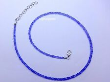 Tanzanite Necklace Faceted Roundels Beads Blue colour 925 Sterling Silver 38cts