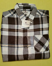 WOOLRICH MENS FLANNEL SHIRT BROWN CREAM PLAID SIZE L LARGE NEW (Have 8 available