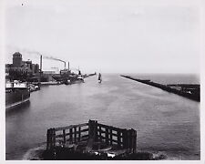 ILLINOIS Steelworks Factory & Harbor Docks Industrial ICONIC 1900s Rare photo