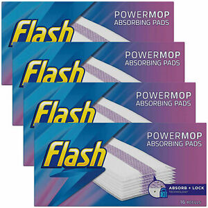 Flash Power Mop 16 Refill Cleaning Pads Disposable Absorbent Cloths Powermop