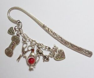 Bookmark - Crochet Queen - scissors yarn spectacles Coffee / Tea pot -silver