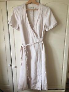 Fab Noa Noa 100% Linen Wrap-Over Summer Dress Size M UK 10 Vgc!