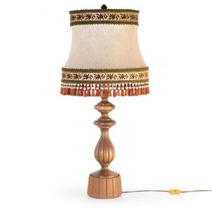 Große Eiche Tisch-Leuchte-Lampe Landhaus vintage table lamp