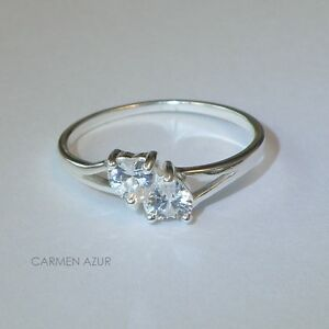 925 Sterling Silver Ring Cubic Zirconia Hearts New Size K,L1/2,N,O,Q + Gift Bag