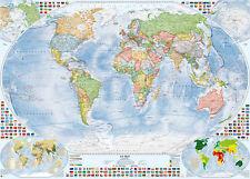 Politische Weltkarte mit 4 Nebenkarten, 140x100 cm, deutsch