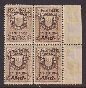 San Marino Scott 78a VF MNH 1907 1c Brown Type I Coat of Arms Block SCV $64