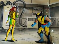 WOLVERINE & ROGUE X-MEN ANIMATION CEL & Hand Painted Background with COA