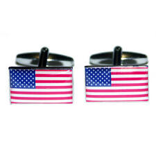 Blue, White & Red Usa American Cufflinks With Gift Pouch America Flags New