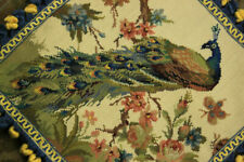 """16"""" Facing Right Peacock On Flower Tree Hand crafted Needlepoint Pillow Cushion"""