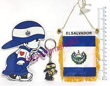 El Salvador Mini Flag Banner Boxing Glove Key Ring Magnetic Vinyl Decal Car