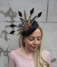 Large Black Velvet Pheasant Feather Hat Fascinator Headband Races Ascot 5471