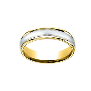 14K Two-Toned 4mm Comfort-Fit Polished Men's Band Ring With Milgrain Size 8