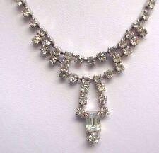collier ancien bijou vintage couleur argent cristal diamant swarovski rare 38
