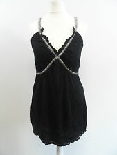 RELIGION BLACK VEST TOP WITH SILVER DETAIL RRP £40 Size 1 UK Size 6 BOX8243 C