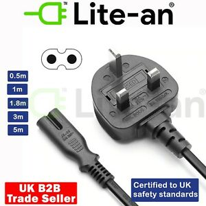 UK Power Cable Figure Of 8 Lead C7 For Laptop PS2 SKY Box Stereo CD Player Cable