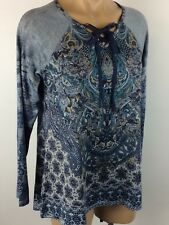 ONE WORLD Embellished Tunic Knit Top Lace Up Necklne BLUE Size L