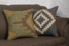 Set Of 2 Pcs Handmade Kilim Jute Cushion Cover 18x18 Hand-woven Rug Pillow 8278