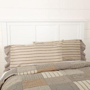 Sawyer Mill Charcoal Stripe Ruffled King Pillow Case Set of 2 21x40