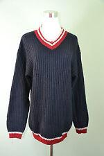 LOTTO Design Vtg Retro Wool Winter Cable Knit Hippy V Neck Navy Jumper sz M H56
