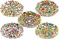 Yair Emanuel Hand Painted Laser Cut Metal Bowl Jewish Art Contemporary