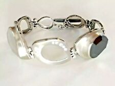 Silpada Sterling Silver, CZ, Hematite Crystal Black White Tuxedo Toggle Bracelet