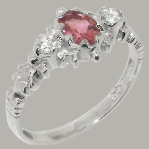Solid 925 Sterling Silver Natural Pink Tourmaline & Diamond Womens Trilogy Ring