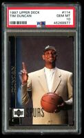 1997-98 Upper Deck Tim Duncan Rookie #114 PSA 10 Gem Mint RC Spurs Hall of Fame