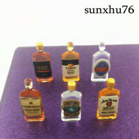 1:12 Wine Whiskey Bottles Set Shop Pub Bar Drink Accessory Dollhouse 6 Miniature