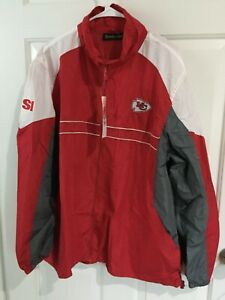 KANSAS CITY CHIEFS: LIGHT WEIGHT/WINDBREAKER SI JACKET: RED: ADULT X-LARGE NWT