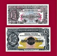 BRITISH ARMED FORCES 1950 2nd Series UNC NOTES :1 POUND (PM22) & 5 POUNDS (PM23)