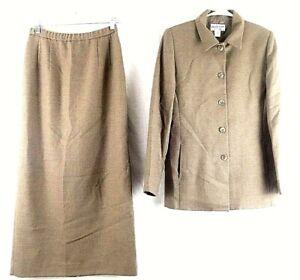 Pendleton Brown Suit Jacket Skirt 2 Piece Wool USA Women's 4 6