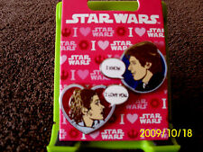 Disney * STAR WARS - PRINCESS LEIA & HAN SOLO * Valentines Day 2 Pin Set