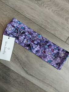 NWT Vera Bradley Purple Enchanted Garden Knotted Headband Flowers Teal