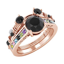 Round Multi Gemstone Mickey Mouse Fashion Ring 14K Rose Gold Over
