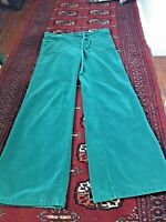 70's Vintage Men's Wide Leg Velvet Bellbottom Jeans drawstring 30-33 original