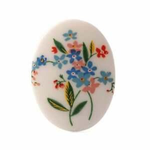 Large oval vintage floral porcelain picture cabochon 40x30mm