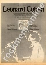 Leonard Cohen New Skin For The Old Ceremony Tour Advert 31/8/74
