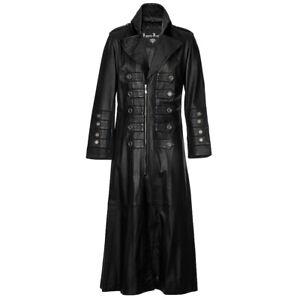 Mens Black Full Length Leather Trench Coat Gothic Matrix Style Impero London
