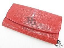 PELGIO Genuine Polished Stingray Leather Skin Women's Trifold Clutch Wallet Red