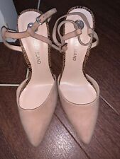 Women's Beige Small Kitten Heels Lepoard Detail  River Island Size 5 Party Shoes