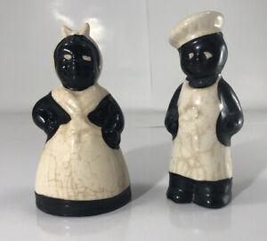 Vintage Black White Americana Collectible Salt Pepper Set porcelain