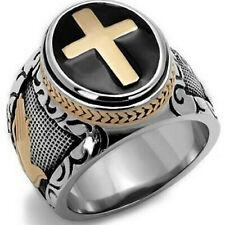 Anillo de oración Christian Holy Cross de acero inoxidable para hombres