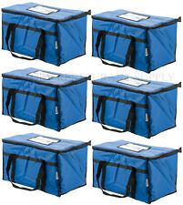 6 PACK Insulated BLUE Catering Delivery Food Full Pan Carrier Hot Cold Bag NEW
