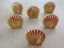 Partylite Brass Hurricane Feet Holders Shells Sea Shells 6 pieces