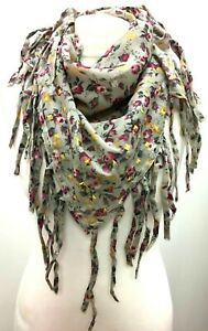 Boho hippy vintage ROSE PRINT tassel LETTUCE OF LONDON scarf wrap pashmina gift